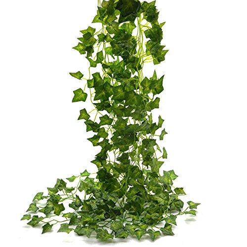 Beebel Ivy Leaves 85Ft 12 Strands Artificial Fake Leaves Hanging Vines Plant Leaves Garland Home Garden Poison Ivy Costume -