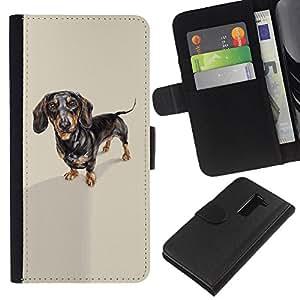 EJOY---La carpeta del tirón la caja de cuero de alta calidad de la PU Caso protector / LG G2 D800 / --Dachshund tejón Perro Negro Marrón