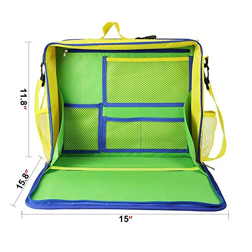 KIPTOP Backseat Car Organizer,Kids Play Tray for Snacks Car Bus Train and Plane Journeys,Travel Used as a Lap Tray Writing Surface or as Access to Electronics for Kids Age 3+ (Blue)