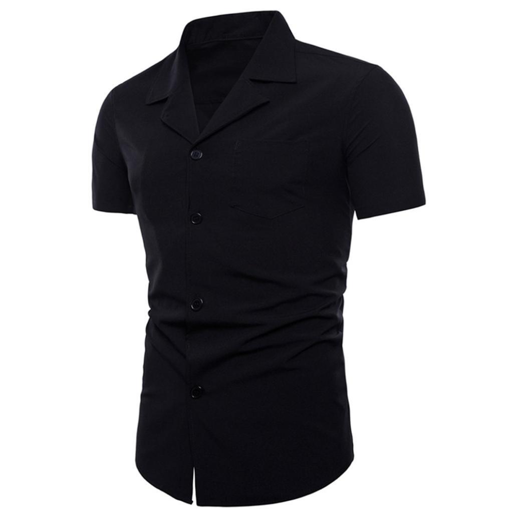 Schmaler Kragen T-Shirt Herren Anzug Fashion Top Kurzarm Solide Bluse GreatestPAK GPTS-3001049