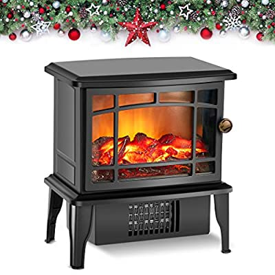 Air Choice Portable Electric Fireplace Stove Space Heater, Advanced Heating System Instant Warm, Adjustable Realistic 3D Flame &Quiet Fan, Overheat Tip-Over Protection, Easy Moving Indoor Outdoor Use