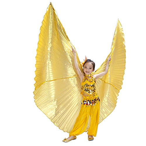 [Dance Fairy Kids' Belly Dance Isis Wings Costumes,Gold] (Disguise Costumes For Turkey)