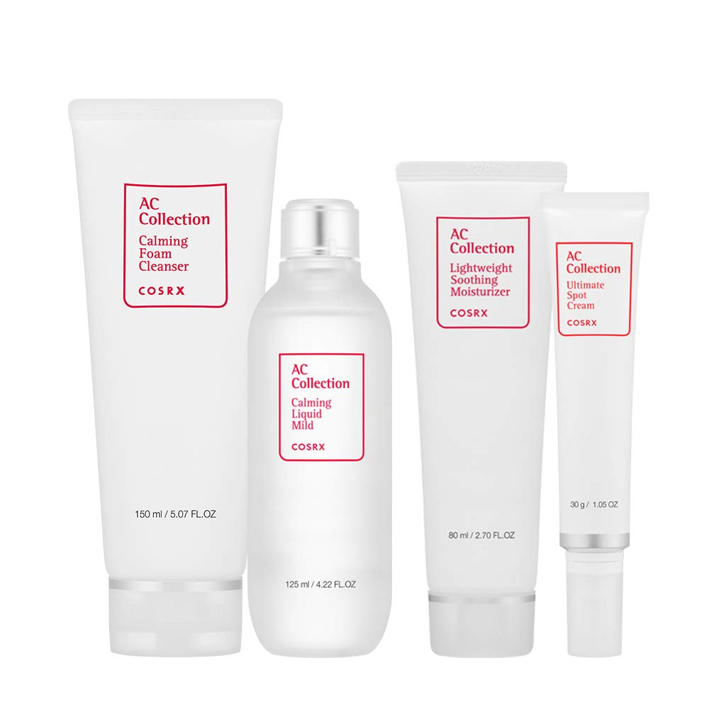 COSRX AC Collection Skin Care Set for Acne Prone Skin - Cleanser, Toner, Moisturizer, Spot Cream