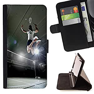 - Badminton Sport - - Style PU Leather Case Wallet Flip Stand Flap Closure Cover FOR Apple Iphone 4 / 4S - Devil Case -