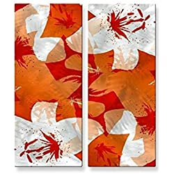 Metal Wall Art Abstract Contemporary Floral Sculpture 2 Panel Home Wall Decor Orange Lilies