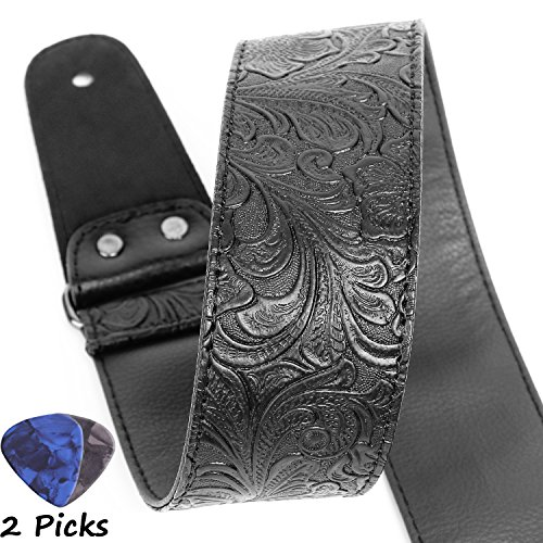 Electric Guitar Strap (Guitar Strap, Printed Leather Guitar Strap PU Leather Western Vintage 60's Retro Guitar Strap with Genuine Leather Ends for Electric Bass Guitar,Wide Adjustment Range, with Tie,Include 2 Picks,Black)