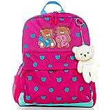 Toddler Kids Backpack for Girls, Children Preschool Little Bag + Teddy Bear Key Ring | by LionBalance