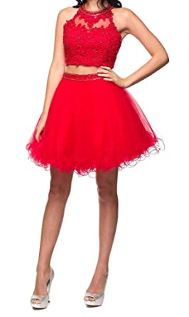 Shadi Womens Two-Piece Red Beaded Applique Short Prom Dress Or Homecoming Dresses 2017 at Amazon Womens Clothing store:
