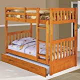 Discovery World Furniture Twin over Twin Bunk Bed with Twin Trundle Bed, Honey