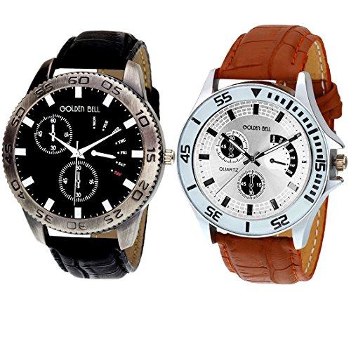 Golden Bell Original Chronograph Look Combo Wrist Watch for Men