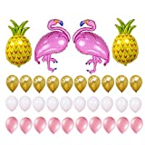Flamingo and Pineapple Party Decorations Supplies-Pack of 34-2 Pack Flamingo, 2 Pack Pineapple and 30 Pack Latex Balloons Summer Party Hawaiian Party Supplies