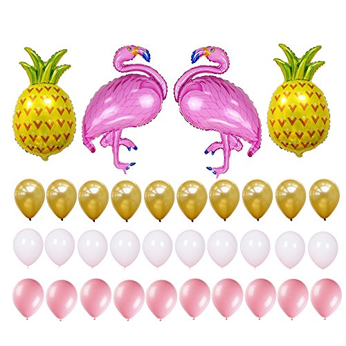 Flamingo and Pineapple Party Decorations Supplies-Pack of 34 - 2 Pack Flamingo, 2 Pack Pineapple and 30 Pack Latex Balloons Summer Party Hawaiian Party -
