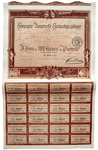 1910 FR STUNNING ANTIQUE FRENCH MOVIE COMPANY BOND w ALL COUPONS! 100 Francs Choice Crisp Uncirculated