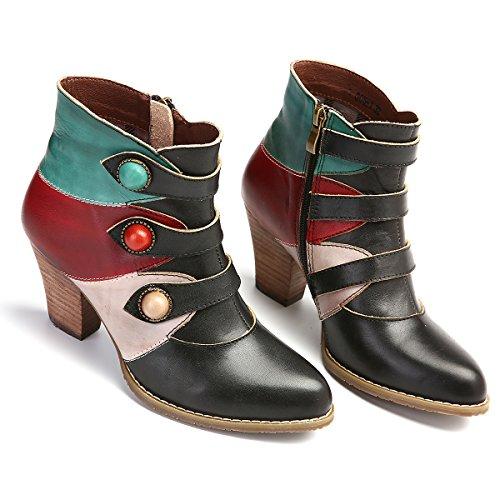 Otoño Bohemio gracosy Hecho Verde Laterales Vintage Marrón Botines Amarillo Alto Tacón para con a Verde Cuero Cremallera Zapatos Mano Mujer Mujer Botas Invierno 78wwxEqIB