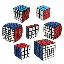 Qm-h Set of 7 Pieces 1x3x3 2x2x2 3x3x3 4x4x4 5x5x5 6x6x6 7x7x7 Sticker Speed Magic Cube Puzzle Classical Black