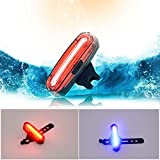 Cheap Xcellent Global Bicycle Tail Light Mountain Bike Rear Helmet Head Safety Outdoor Warning Light USB Rechargeable 120 Lumens,Red + Blue LD103