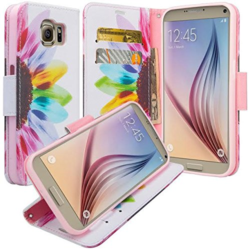 GALAXY WIRELESS for Galaxy S7 Case with Wallet, Samsung Galaxy S7 Wallet Case, Flip Folio [Kickstand Feature] Pu Leather Wallet Case with ID Slots for S7 Phone Case - Sun Flower