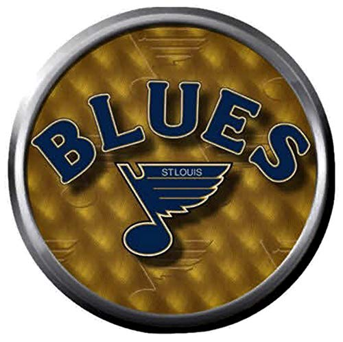 St Louis Blues NHL Hockey Logo Note On Gold 18MM - 20MM Fashion Snap Jewelry Snap Charm