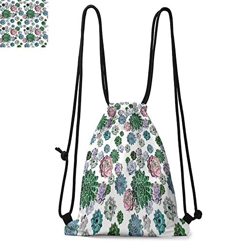(Cactus Decor Easy to carry drawstring backpac Colorful Pattern of Succulent Plants Tropical Foliage Natural Garden Decor Durable Drawstring Backpack W13.4 x L8.3 Inch Multicolor)