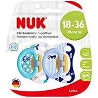 NUK Boy Latex Soother, Happy Kids, 18+M