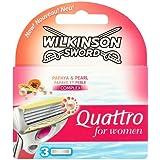 Wilkinson Sword - Quattro - Afeitar con 4 palas para mujeres - 3 unidades