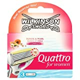 Wilkinson Sword Quattro for Women Razor Blades, 3 Blades