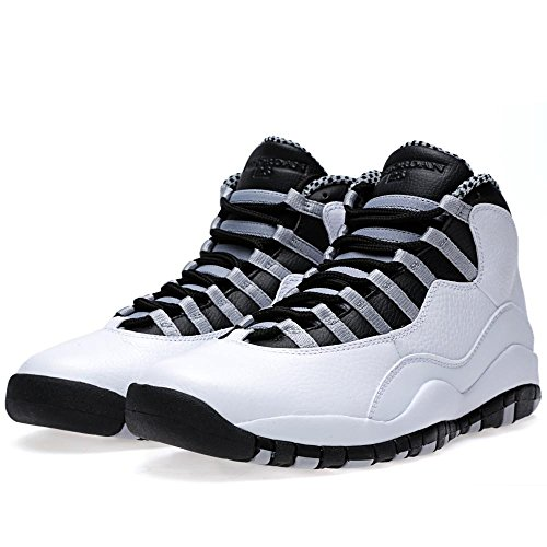 Nike Air Jordan Retro 10 310805-103 (usm 8 - 9.5) Bianco / Nero-luce Acciaio Grigio-varsity Rosso