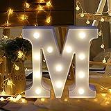 TAOtTAO Remote control Alphabet Letter Lights LED Light Up White Plastic Letters Standing (M)