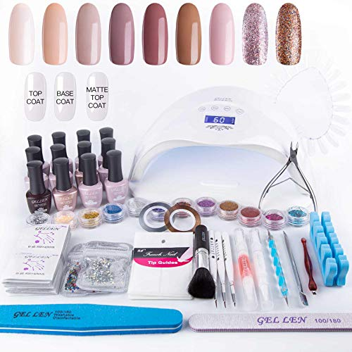 (Gellen Home Nail Gel Starter Kit with Holiday Gift Bag 48W LED Nail Lamp, Selected 9 Colors Top Coat Base Coat, Luxury Manicure Tools Popular Nail Art Decorations #1)