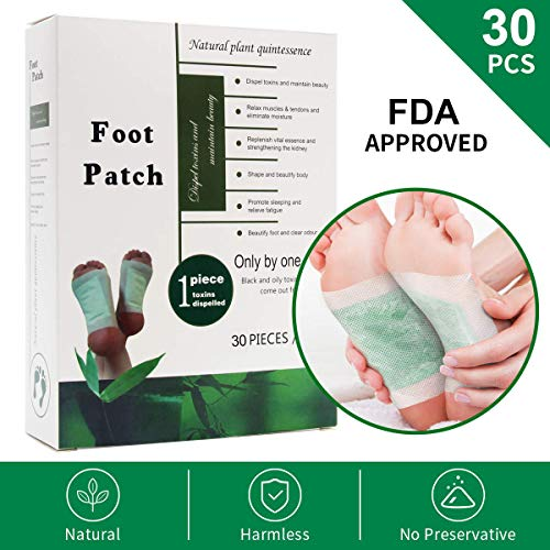Coolrunner FOOT PADS 30Pcs Supply, Ginger, Green tea, Lavender, Rose, Wormwood Aroma Infused, 2 in1 Self Adhesive, 100% Natural Cleansing Foot Patches | Relieve Stress Improve Sleep | Pain Relief | FD