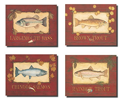 Classic Lakehouse Fishing Signs Trout Salmon Bass Set; Cabin Lodge Decor; Four 10x8in Mounted Prints; Ready to - Fishing Lodge Decor