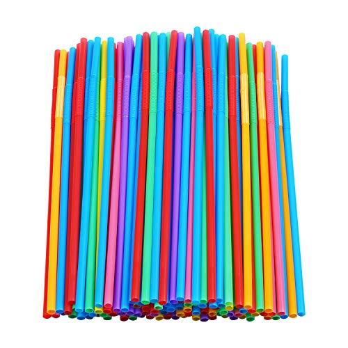 200 Pcs Colorful Plastic Long Flexible Straws.(0.23