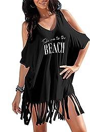 Womens Letters Print Baggy Swimwear Bikini Cover up Beach Dress T-Shirt