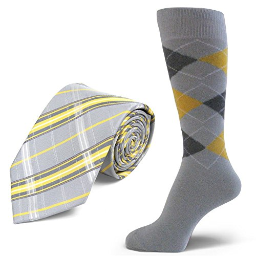 Spotlight Hosiery brand Men's Dress Socks &Necktie Set Light Gray/DarkGray/Yellow