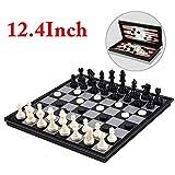 Chess Board ,Joneytech 12.4 inch 3 in 1 Chess & Checkers & Backgammon