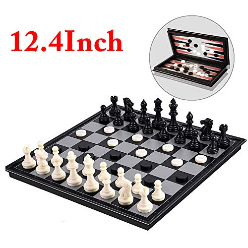 Magnetic Chess Set for Kids and Adults,12.4 inch 3D Travel Chess Board Games with 3 in 1 Chess Checkers and Backgammon for Fun and Gifts