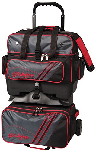 KR Strikeforce LR4-Ball Roller Bowling Bag, Grey/Red/Black