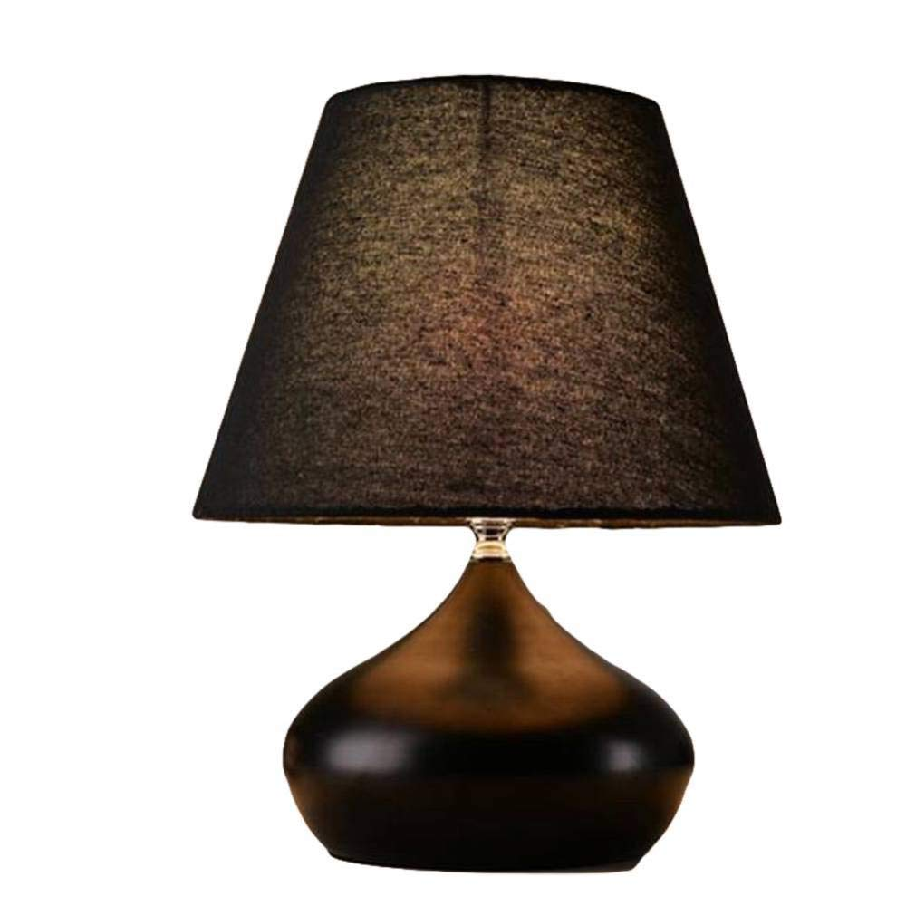 Homker Schlafzimmer Nachttischlampe Metall Lampe Körper Stoff Lampenschirm 220V E27 Schraube
