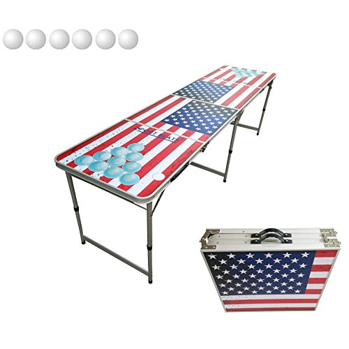 Portable Tailgate Table (8-Foot Beer Pong Table Portable Foldable Adjustable,Picnic / Tailgate Table Indoor Outdoor Party Games By SPORT BEATS)