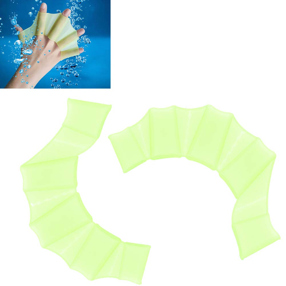 green,L 1 Pair Frog Claws Webbed Swimming Gloves Soft Silicone Gear Paddle Fins Fingers Hand Webbed Flippers Water Resistance Training Gloves for Adult and Children