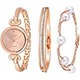 Xinge Women's Crystal Bangle Watch Set and Pearl Bracelet Rose Gold Tone 590