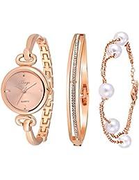 Women's Rose Gold Watch Set Quartz Jewelry Bangle Watch and Bracelet 590