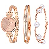 Xinge Women's Round Rose Gold-Tone Bangle Wrist Watch and Bracelet Set 590