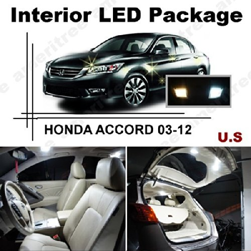 Ameritree LED for Honda Accord 2003-2012 (12 Pcs) Xenon White LED Lights Interior Package and White LED License Plate Kit