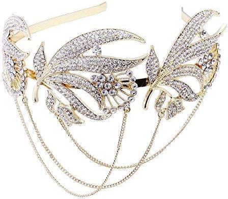 Babeyond 1920s Crystal Wedding Headpiece Headband Bridal