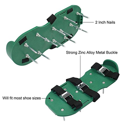 ODIER Lawn Aerator Shoes Cleats Aerating Lawn Soil Sandals 3 Adjustable Straps Heavy Duty Spiked Sandals for Aerating Your Lawn or Yard (Model-A) by ODIER (Image #1)