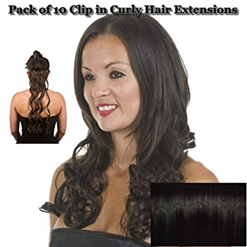 Amazon black curly 18 clip in full head hair extensions black curly 18quot clip in full head hair extensions pack of 10 curly clip pmusecretfo Images