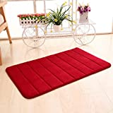 Red Bathroom Mat Set Bath Mat,Muxika 50 x 80cm Memory Foam Mat Absorbent Slip-resistant Pad Bathroom Shower Bath Mats (Red)