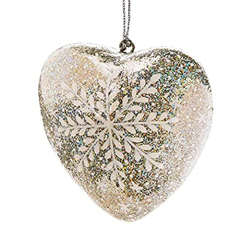 Glistening Paper Mache Heart Ornament With Snowflake Design 'Snowflake Heart Ornament' - Glistening Heart