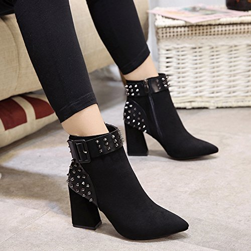 The new high-heeled boots Fashion Belt Buckle rivet boots fine with the tip of the women fashion boots women plus velvet high-heeled, Black (Bold) with 38